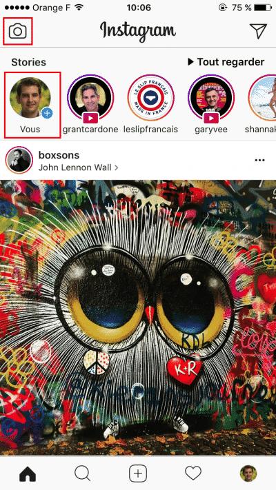 Ecran principal Stories Instagram